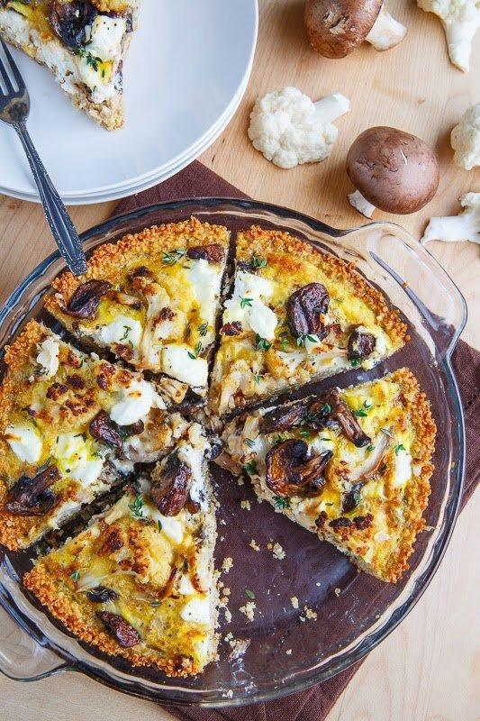 Roasted Cauliflower, Mushroom and Goat Cheese Quiche with Amaranth Crust