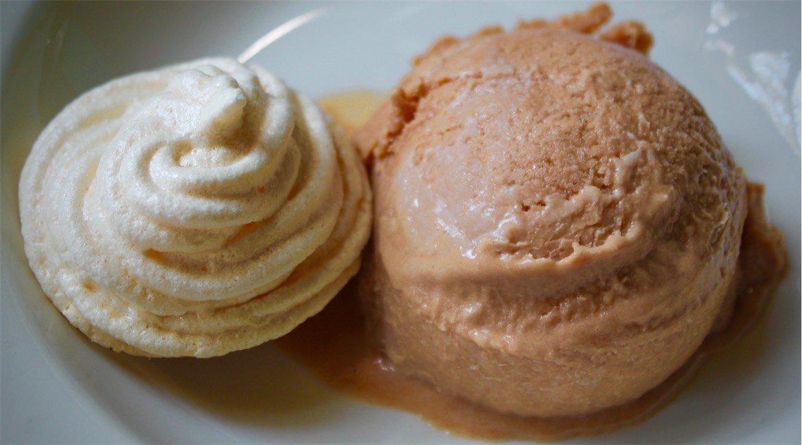 Sour plum (or rosella) ice cream with meringue