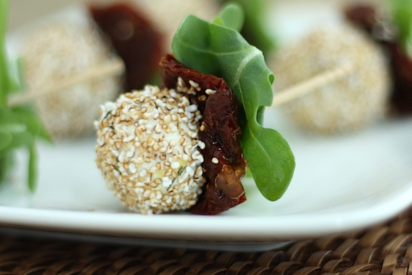 Mini Goat's Cheese Ball Skewers with Popped Amaranth and Sun-Dried Tomatoes